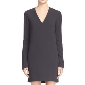 Helmut Lang V Neck Long Sleeve Black Shift Dress
